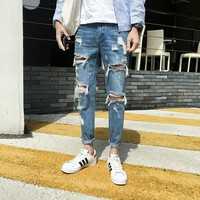 Men Denim Jeans Stretch Skinny Hole Pleated Ripped Washed Casual Solid 2018 Summer Men Jeans Bleached Ankle-Length Lightweight