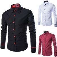 2015 New Arrival Color Mens Slim Shirt Fit Casual Blouse Unique Neckline Long Sleeve Shirts Turn-down Collar Man casual Shirt