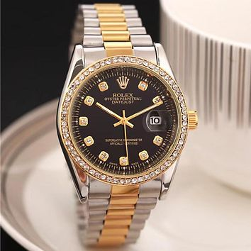 Rolex Fashion Men's and Women's Casual Business Steel Band Diamond Watche