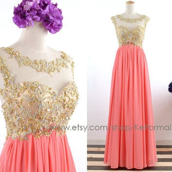 Gold Lace with Crystal Long Coral Prom Dresses, Coral Open Back Formal Dresses, Long Chiffon Wedding Party Dress, Coral Long Prom Gown