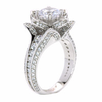 Blooming Rose Flower Pave CZ White Gold Plated Engagement Ring