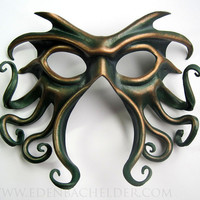 Cthulhu leather mask handpainted in green and antique by edenbee