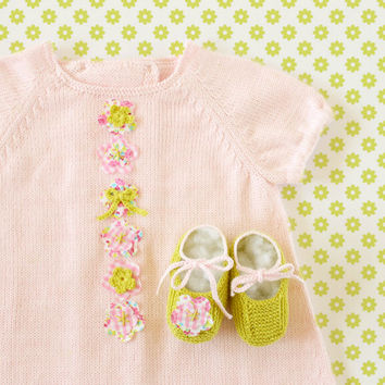 knitted baby dress pink  with fabric flowers. Matching shoes. 100% cotton. READY TO SHIP size 3-6 months.