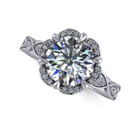 Diamond Cluster Halo Engagement Ring Semi-Mount - Customize Your Ring