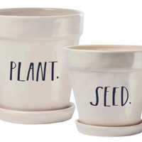 "Rae Dunn Stem Print ""Plant"" and ""Seed"" Planters, Set of 2"
