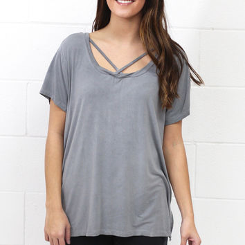Cross It Mineral Wash Strappy Tee {Ash} EXTENDED SIZES - Size 1XL