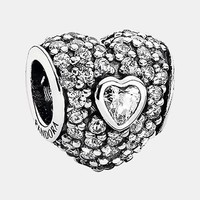Women's PANDORA 'In My Heart' Pave Heart Charm - Silver/