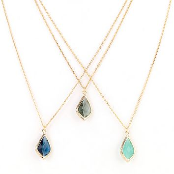 Diamond Droplet Necklace in Blue Hues