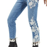 Topshop Moto Floral Embroidered Straight Leg Jeans | Nordstrom