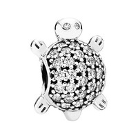 Women's PANDORA Sea Turtle Bead Charm - Silver/ Clear