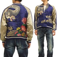 Dragon cherry tree ska Jean RKJ-013 chrysanthemum wave dragon pattern men gift jacket navy new article