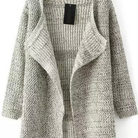 Coffee Knitted Long Sleeve Cardigan
