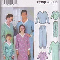 Easy to sew pattern for family pajamas and long sleeve nightshirt unisex adults size s m l xl and child xs s m l Simplicity 5784 UNCUT