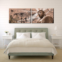 Huge XXLPrint on 2 Stretched Canvas Panels Buddha 72x24 inches Limited Edition Ready to Hang