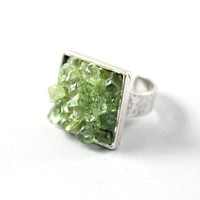 Silver ring - big green crystal ring adjustable ring sterling jewelry by NatureLook