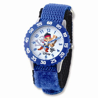 Disney Kids Jake & Pirates Blue Velcro Band Time Teacher Watch