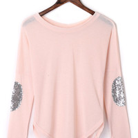 Light Pink Sequined Elbow Patch Asymmetric T-shirt