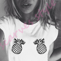Women's Tshirt boobs,women Tshirt, T Shirt pineapple ,Screen Printing T-shirts, Women's T-Shirts, womens Tshirt,narrow model,Size S, M, L,XL