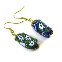 African Sand Cast Beads Dangle Earrings in Green, Blue, and White