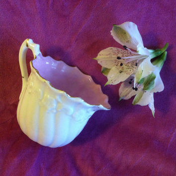 Small Pink and White Porcelain Creamer Vintage Floral Scalloped Hand Painted Pitcher Vase With Gold Gilt Edging Kitchen Dining Serving Ware