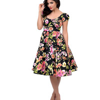 Stop Staring! 1950s Style Black & Pink Floral Haylie Swing Dress