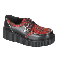 "Demonia Ladies Creeper 113 Black With Plaid Inset Oxford 2"" Platform"