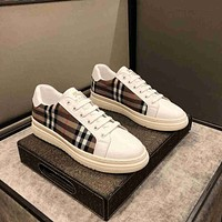 Burberry  Men Fashion Boots fashionable Casual leather Breathable Sneakers Running Shoes0512gh