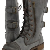 Brown Distressed Combat Lace-Up Riding Mid-Calf Boot Nature Breeze Lug 12