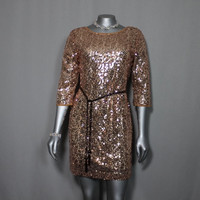 Copper Color Sequined Mini Dress