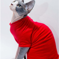 Cat Clothes Sphynx Cat short sleeve T-Shirt  Many solid colors Cat Sweater, Painter's Colors dog clothes cat jumper Chinese Crested Dogs