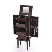 Antique Standing Jewelry Armoire Cabinet Flip-top Mirrored Jewelry Storage Box Boxes Organizer Chest Bedroom Furniture SM6