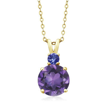"3.12 Ct Round Amethyst Tanzanite 14K Yellow Gold Women's Pendant + 18"" Chain"