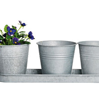 Zinc Triple Flowerpot Trays, Gray, Set of 2, Outdoor Urns, Planters & Jardinieres