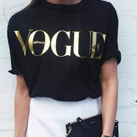 Black Bronzing Letters Loose T-Shirt