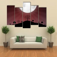 Full Moon Illustration With Stars And Trees Multi Panel Canvas Wall Art