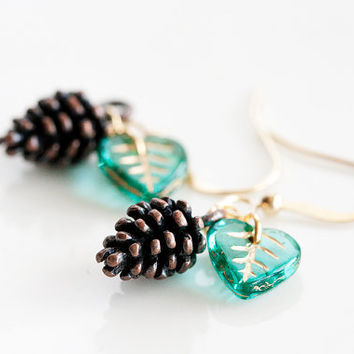 Pine Cone Green Leaf Earrings Turquoise Leaves Pinecone Earrings Woodland Forest Nature Brown Earrings - E227