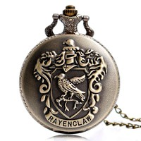 2016 New Arrival Classic Harry Potter Ravenclaw Designer Quartz Pocket Watch With Necklace Chain For Men Women Xmas Gift