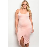 Plus size fitted midi dress with a square neckline and slit (b)