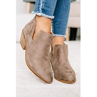Stassi Taupe Pointed Toe Booties