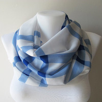 Blue White Plaid Pattern Chiffon Infinity Scarf, Women Scarf, Circle Scarf, Loop Scarf, Fall Winter Spring Summer Fashion, For Her