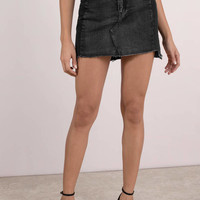 Two Step Hem Denim Skirt