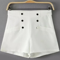 White High Waist Double Buttons Mini Shorts
