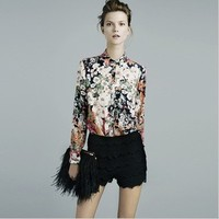Free Shipping European Style Famous Brand Fashion Flowers Printed Shirt Chiffon Long Sleeve Blouse Casual Women Tops Blusas-in Blouses & Shirts from Women's Clothing & Accessories on Aliexpress.com | Alibaba Group