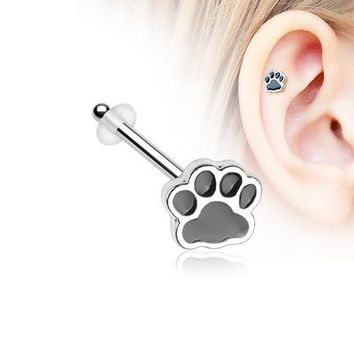 Adorable Paw Print Piercing Stud with O-Rings