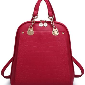 Alligator Faux Leather Backpack for Women