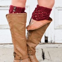 Merlot Checkered Boot Cuffs with Buttons