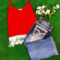 ONE LOVE CHIFFON TANK IN RED