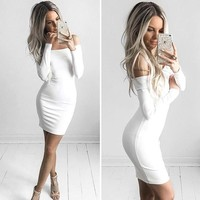 Women Sexy Dress Fashion The Word Shoulder Summer Autumn Dress Vestidos Big Size Women Clothing White Black Dresses