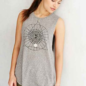 Truly Madly Deeply Hexagram Shirttail Muscle Tee- Grey