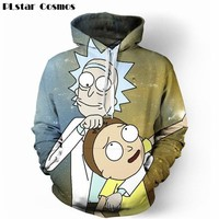 PLstar Cosmos Cute Rick Morty Hoodies Men 2017 Long Sleeve Outwear Sportswear Tracksuits 3D Printed Pullover Hoodie Sweatshirt